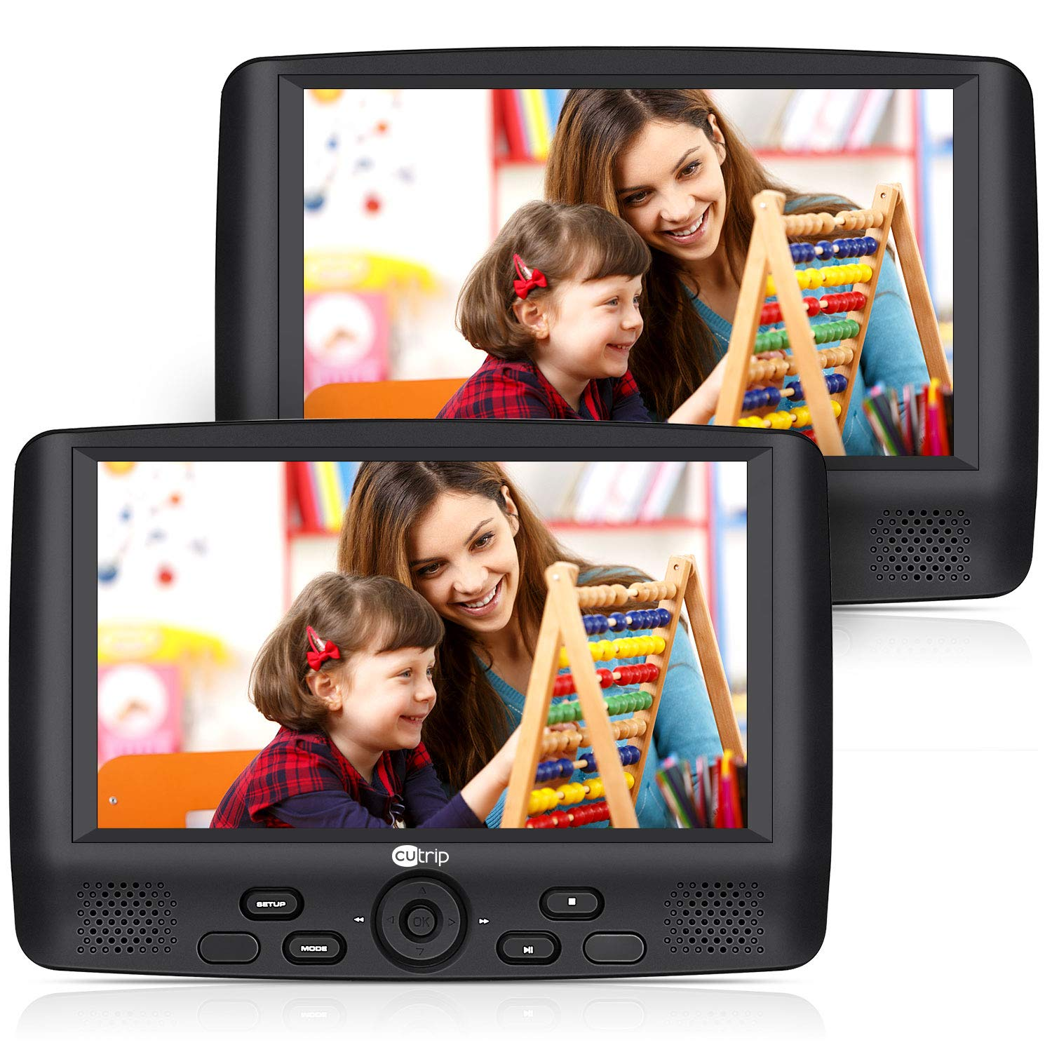 12'' Dual Car DVD Player with 9'' Screen, Headrest Mount Bracket and Rechargeable Battery Support 5 Hours, Sync Screen, Last Memory, USB SD