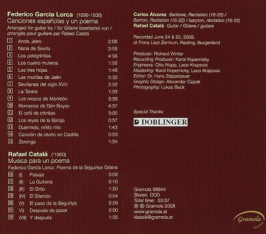 15 Canciones Españolas : Frederico Garcia Lorca & Rafael Catala ...