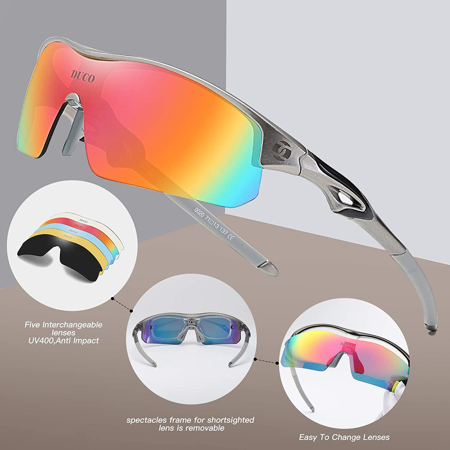ICOCOPRO Polarized Sports Sunglasses Men Women UV 400 Protection Sunglasses for Cycling Fishing Golf Hiking Unbreakable Superlight Frame – 4 Colors