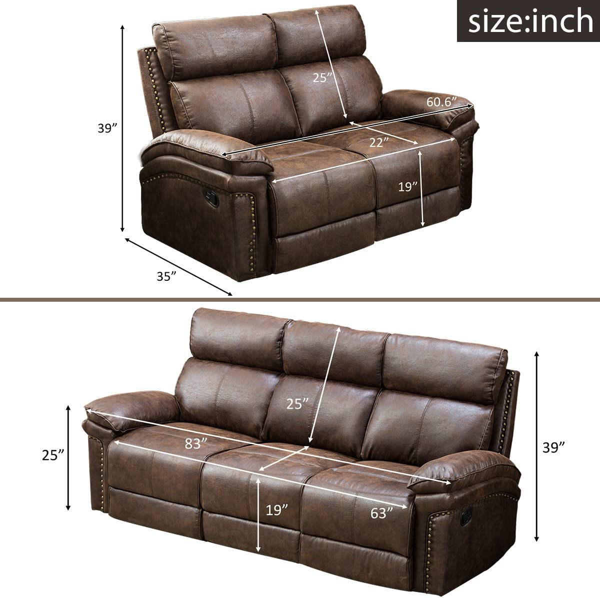 Harper Bright Designs Bonded New-tech Farbric Sectional Recliner Sofa Set Brown Loveseat 3-Seat Recliner
