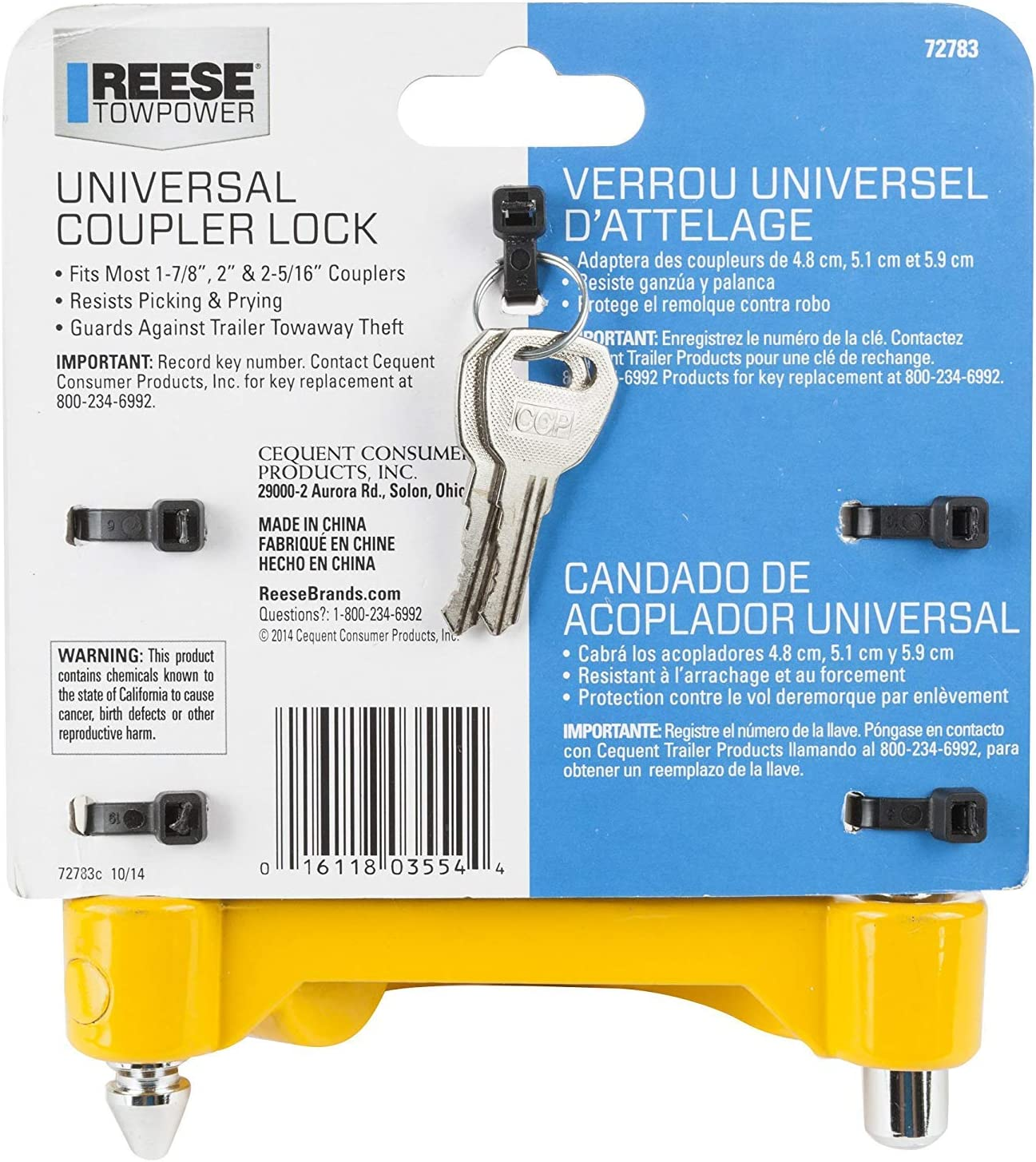 4 Reese Towpower 72783 Universal Coupler Lock Heavy-Duty Steel Adjustable Storage Security