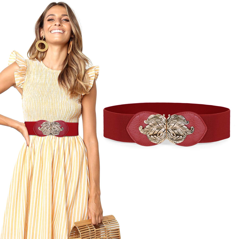 Retro Metal Leaf Buckle Belt Wide Elastic Waist Belt Elegant Stretch Dress Waistband For Women Ladies By JASGOOD
