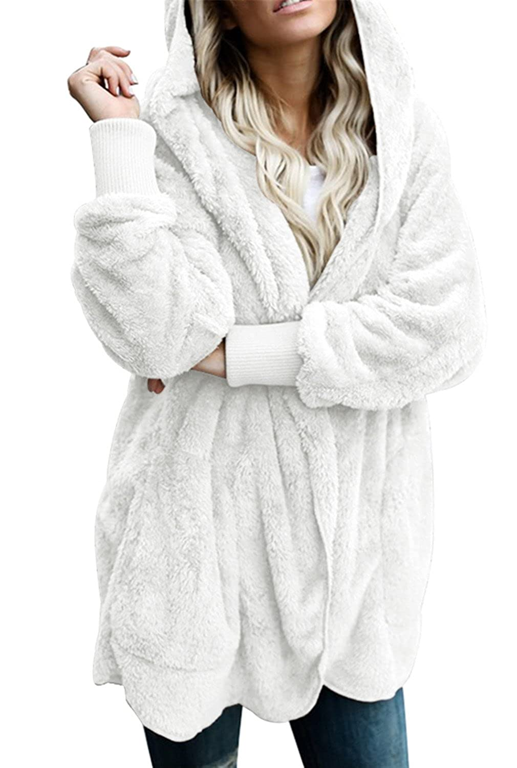 White Dokotoo Womens Fuzzy Open Front Hooded Cardigan Jacket Coat Outwear with Pocket