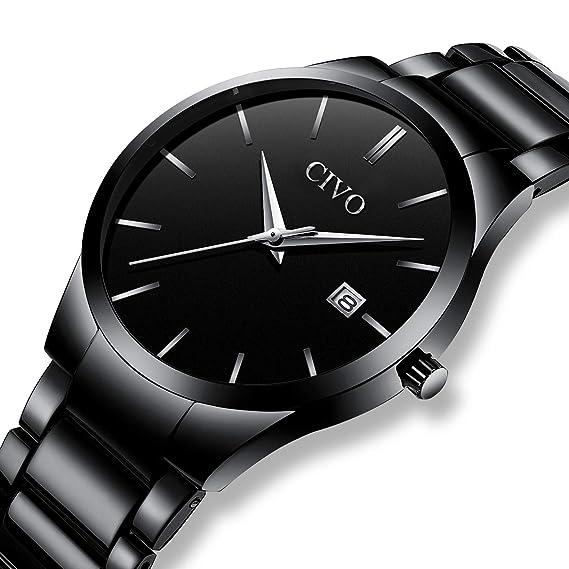 CIVO Relojes Hombre con Lujo Correa de Acero Inoxidable Negro Fecha Calentario Reloj de Pulsera para