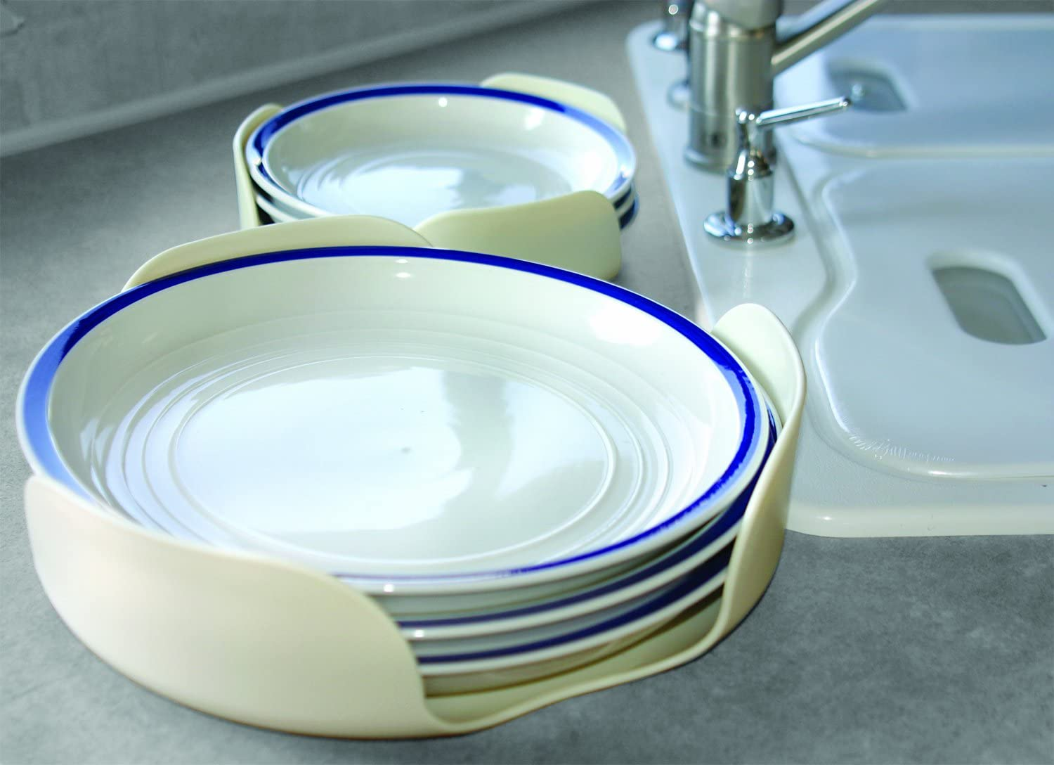 Camco Stack-A-Plate- Easily Organize, Store And Protect Plates During RV Travel, Non-Slip Backing