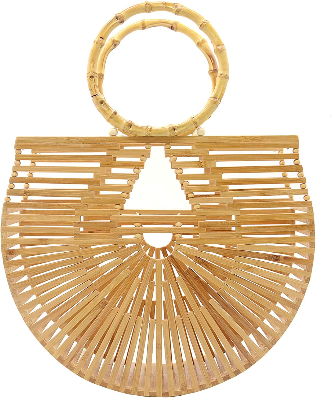 Miuco Womens Bamboo Handbags Handmade Purses Tote Bag