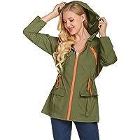 LOMON Womens Raincoat Lightweight Waterproof Jacket Windbreaker Outdoor Hooded Zip up Rain Jacket with Pocket