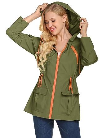 62c3f5b63 LOMON Lightweight Waterproof Hiking Raincoat for Women Windbreaker Packable  Outdoor Hooded Rain Jacket(Army Green