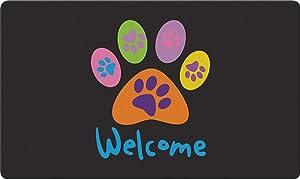 Toland Home Garden Welcome Paws Black 18 x 30 Inch Decorative Floor Mat Puppy Dog Kitty Cat Greeting Doormat