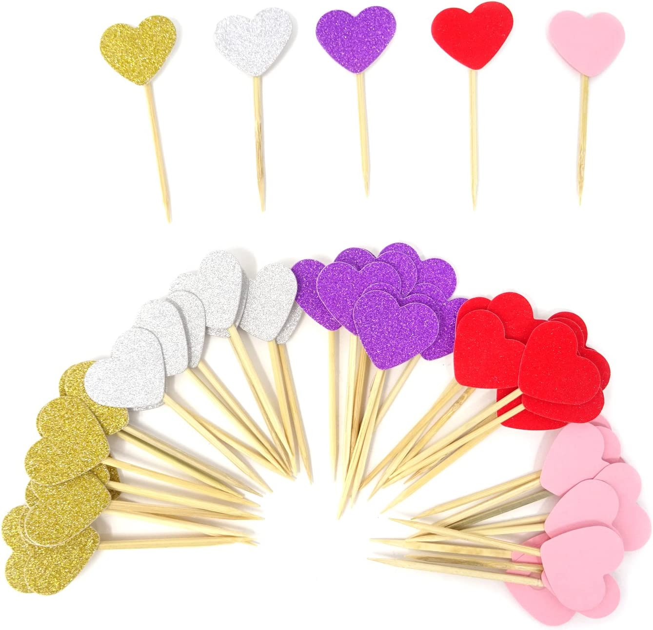 HONBAY 50PCS Glitter Heart Cupcake Toppers Birthday Cake Decoration Food Picks Wedding Party Baby Shower Supplies - Red Series