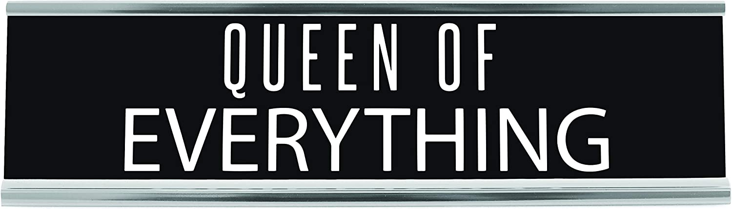 Queen Of Everything Desk Sign, 8 inch x 2 inch, White