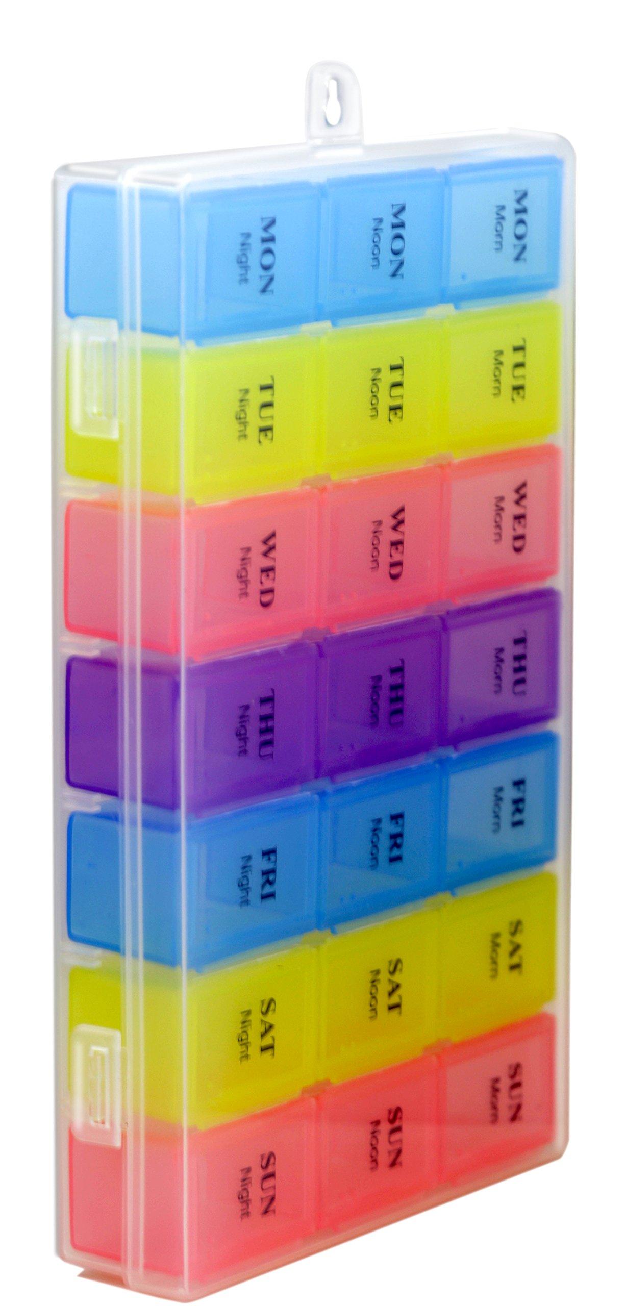 CoCo Island Pill Organizer, Medicine, Vitamin Organizer, 4 Colored, 7 Day AM/PM, 21 Compartment
