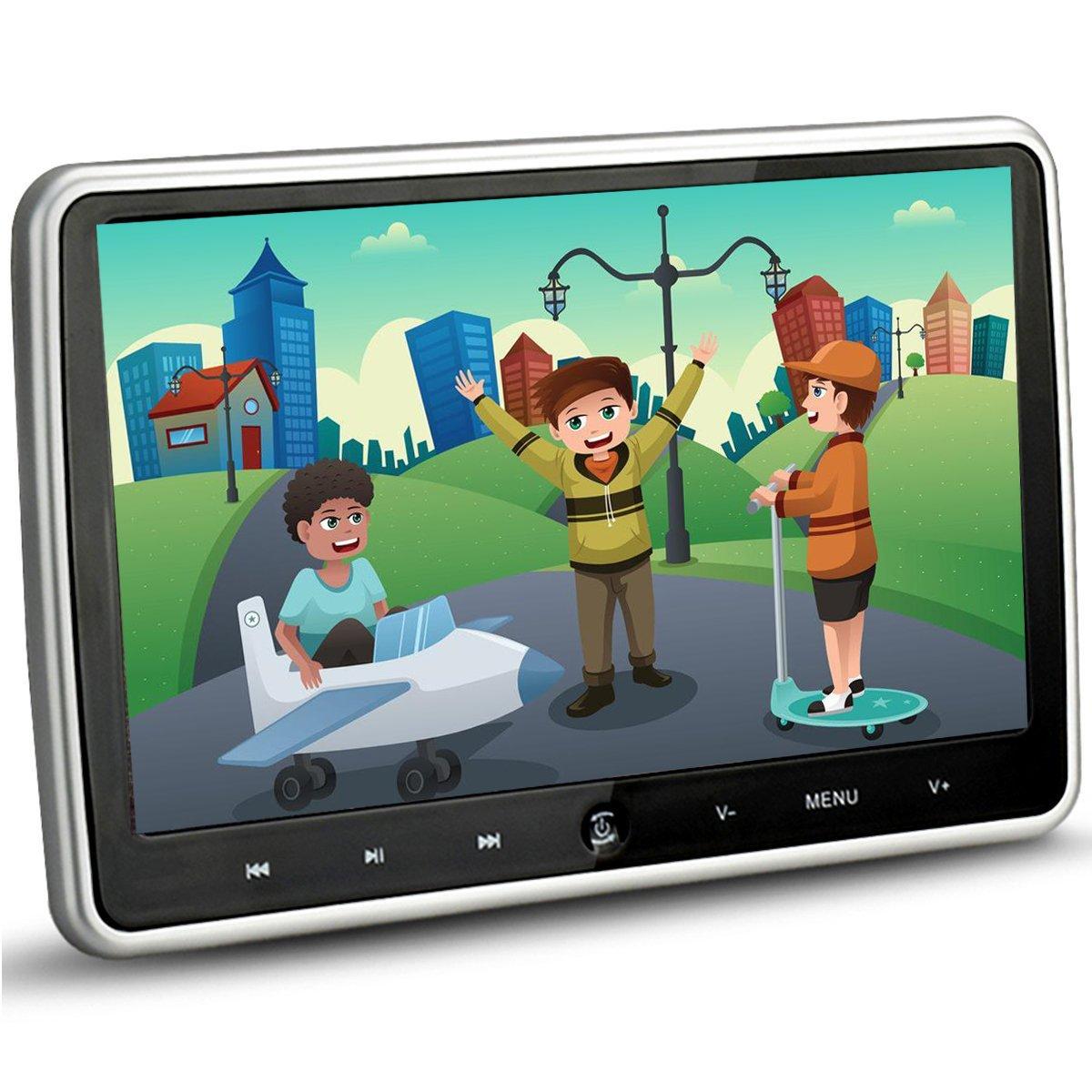 10.1 Inch HD 1024 x 600 HDMI USB SD IR/FM Ultra Thin Digital Touch Key LCD Screen Car DVD Player Headrest Monitor by Hengweili