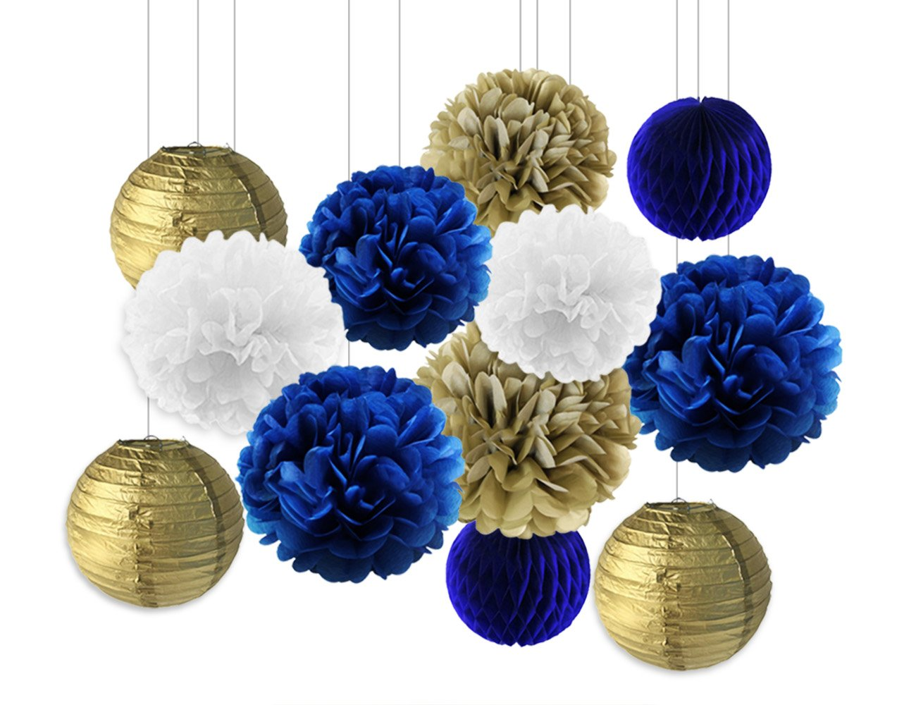 LUCK COLLECTION Navy Blue Birthday/Party Decorations for Adults Men with Tissue Paper Pom Poms Paper Lantern Paper Honeycomb Star Streamers/Baby Shower Decor Bridal Shower Decor KREATWOW