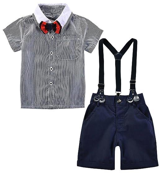 049eca0ab4742 3 pcs Vêtements Suite Bébés Garçons Costume T-shirt Rayure Noeud Papillon  Bleu Rouge Bretelles