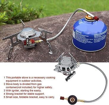 Quemador de Gas Camping 3500 W Quemador Portátil de Cocina al Aire Libre Picnic Quemador de Gas Plegable Mochila Camping Calentador de Metal