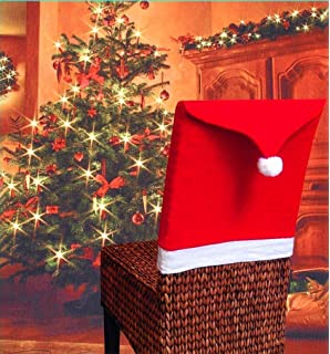 DOYOLLA Santa Claus Hat Christmas Chair Covers Red Pack 4