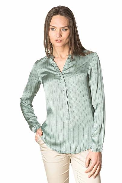 Laura Moretti - Camisa o Blusa Verde de Viscosa de Manga Larga con Cuello Mao y