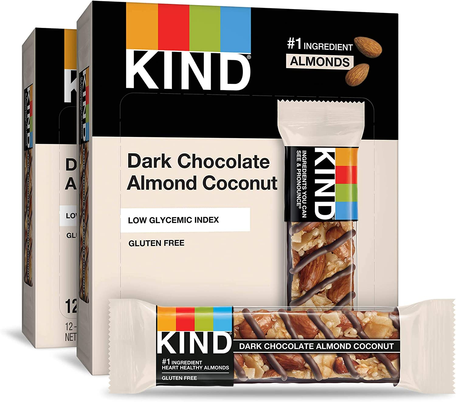 KIND Dark Chocolate Almond Coconut Bars, Low Glycemic Index, Gluten Free Bars, 1.4 OZ, 24 Count