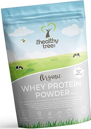 Proteína de Suero de Leche Orgánico en Polvo (600 g) - Sin Sabor y Alto en BCAA con 15g Cucharada Gratis - 80% Proteína Whey Pura de Vacas Alimentadas ...