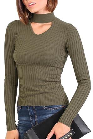 ff7e3abf43d2a PILOT® Women s Skinny Ribbed Choker Neck Long Sleeve Jumper in Khaki Green