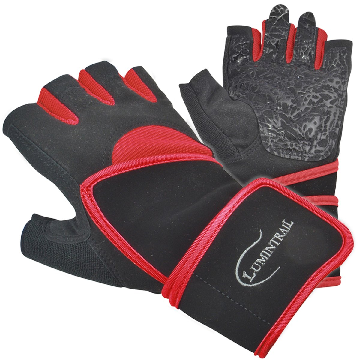 Lumintrail all-purpose Womens Sport Fitness Exercise Lifting Half Finger Gloves with 18