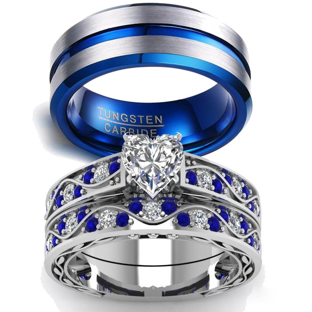 LOVERSRING Couple Ring Bridal Sets His Hers Women 10k White Gold Filled Men Tungsten Carbide Wedding Engagement Ring Band