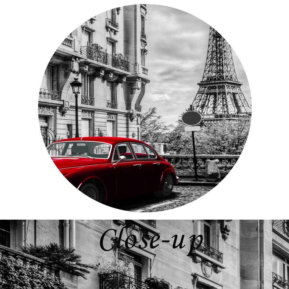 5pcs Black and White with Red Bicyle in London Street Wall Art Modern Giclee Canvas Prints Paintings on Canvas Stretched and Framed for Home Decor Kreative Arts Large Size 60x32inch, Bicycle