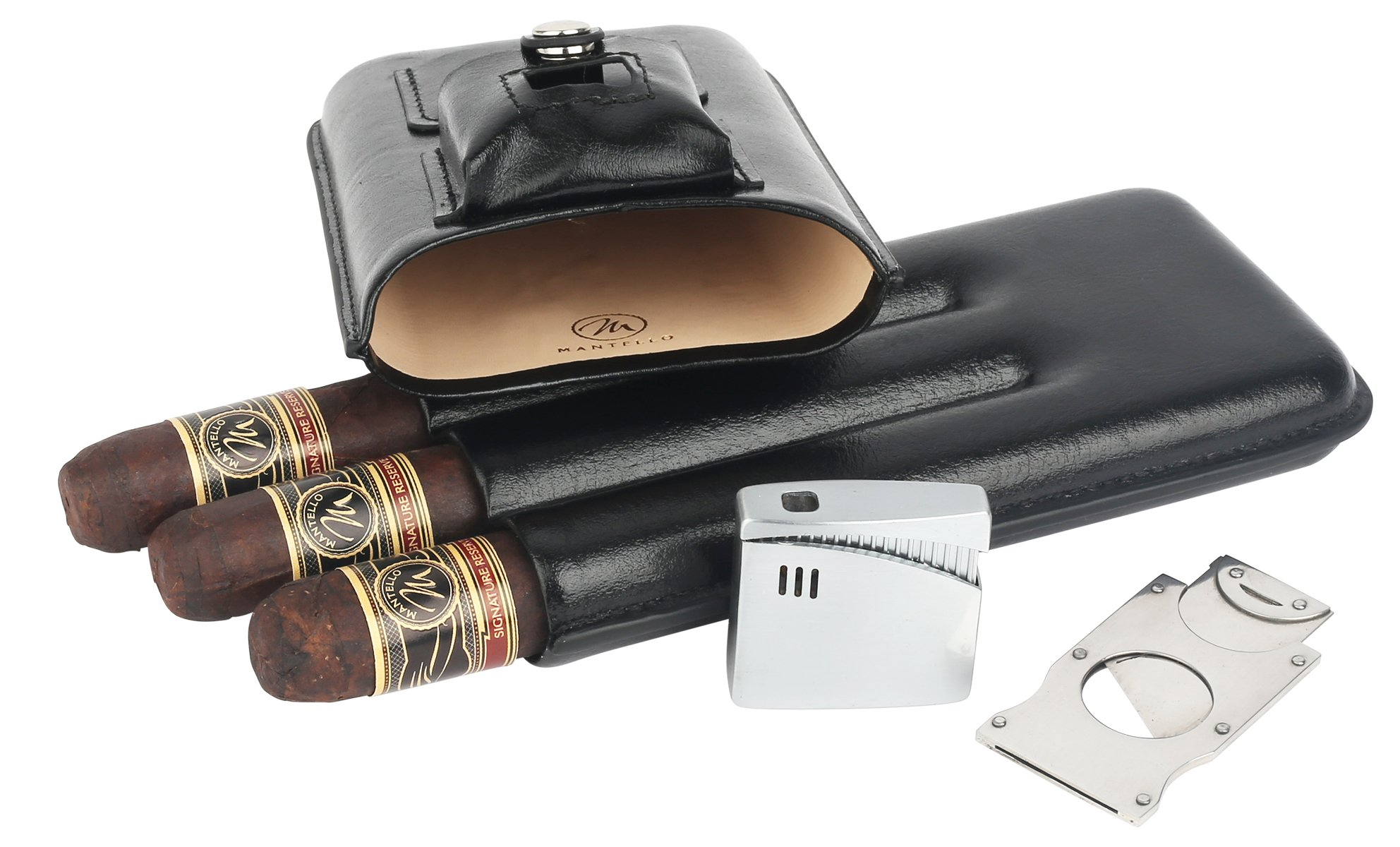 Mantello Cigar Case with Lighter and Cutter Genuine Leather Gift Set
