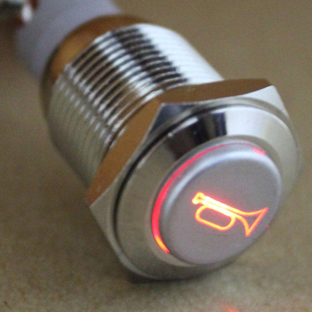 E Support/™ KFZ Auto Boot Kippschalter Druckschalter Schalter Drucktaster Druckknopf 12V Blau LED Licht Metall Lautsprecher Horn