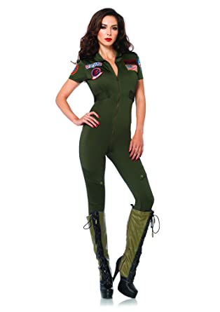 Leg Avenue Women s Top Gun Flight Suit Spandex Catsuit with Interchangeable  Name Badges da50c6531