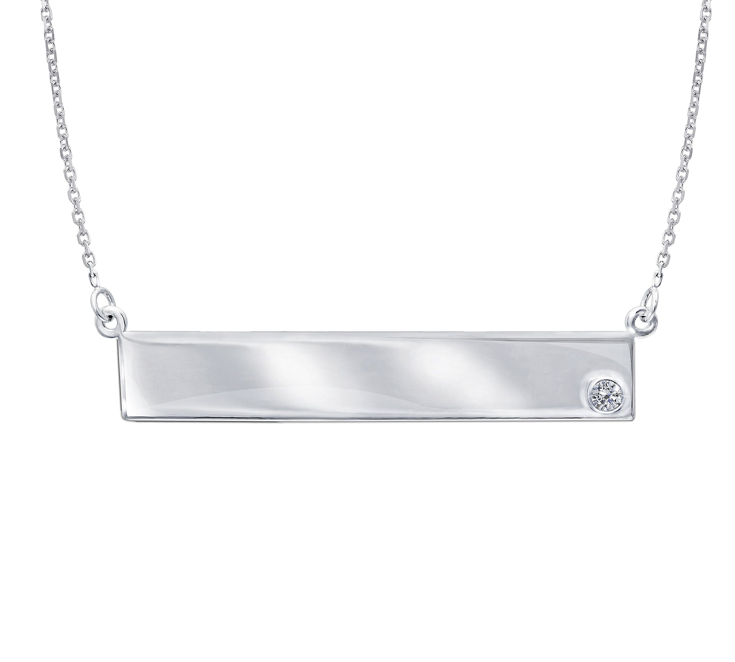 NAME PLATE NECKLACE, 14KT GOLD & DIAMOND NAME PLATE NECKLACE 18'' INCHES