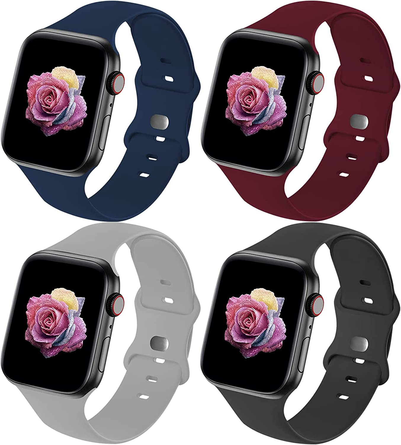 Crefort Sport Band Compatible with Apple Watch Bands 38mm 40mm 42mm 44mm for Women Men,Soft Silicone Sport Replacement Strap Accessory Compatible for iWatch Wristbands Series 6/3/5/SE/4/2/1 S/M M/L