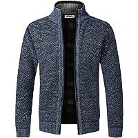 Heren gebreid vest dikke trui volledige Zip Stand kraag warme Jumper Fleece gevoerde winterjas