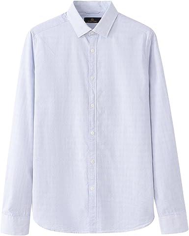 Bubangos - Camisa de Vestir Blanca con Puntos Azules de Manga Larga 100% algodón para Hombre (XL, Blanca con Puntos Azules): Amazon.es: Ropa y accesorios