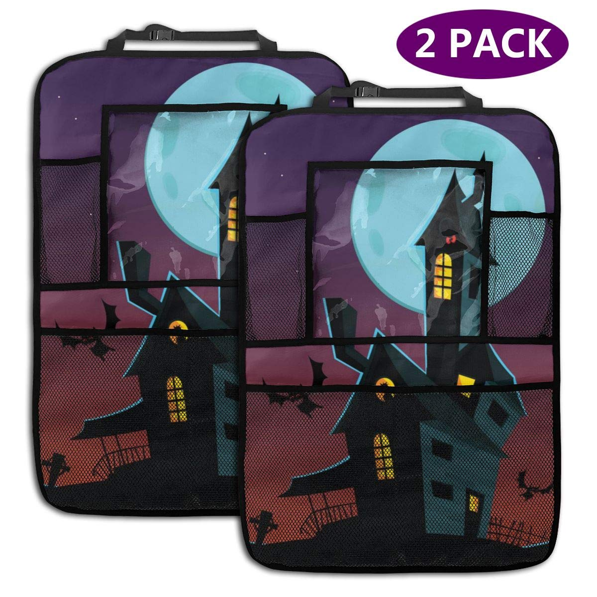 Cary Old Haunted House 2 Pack Car Seat Organizer Kick Mat Protector Durable Quality Seat Covers Protectors by LZQEEN