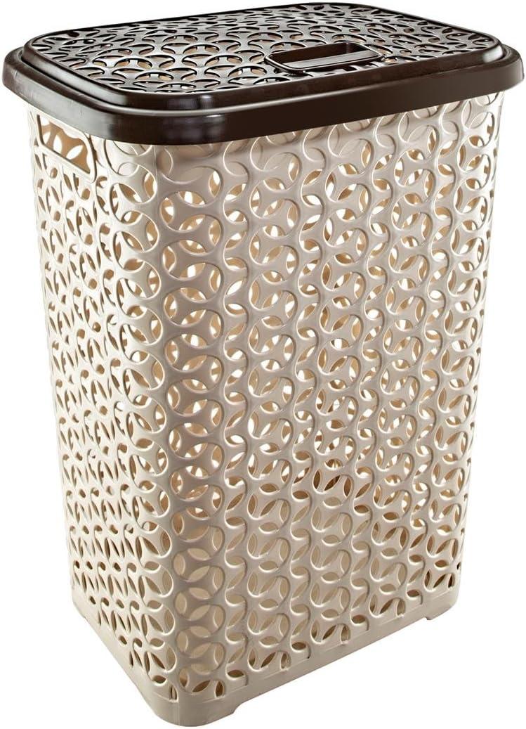 UNIWARE 60 LT Hollow Design Clothes Hamper Laundry Basket, Made in Turkey, Beige (1, Beige/Brown)