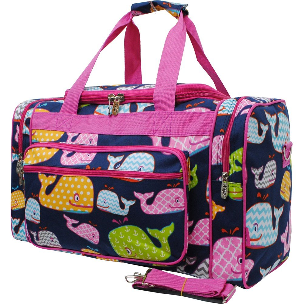 Sea Summer Whale Print Medium 20'' Carry on Shoulder Duffle Bag