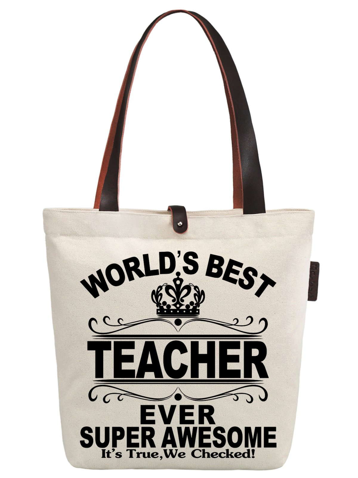 So'each Women's World's Best Teacher Ever Graphic Canvas Handbag Tote Shoulder Bag