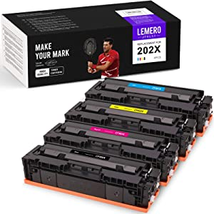 LemeroUtrust Compatible Toner Cartridge Replacement for HP 202X CF500X 202A CF500A CF501X CF502X CF503X use with HP Color Laserjet Pro MFP M281fdw M281cdw M281dw (Black Cyan Magenta Yellow, 4-Pack)