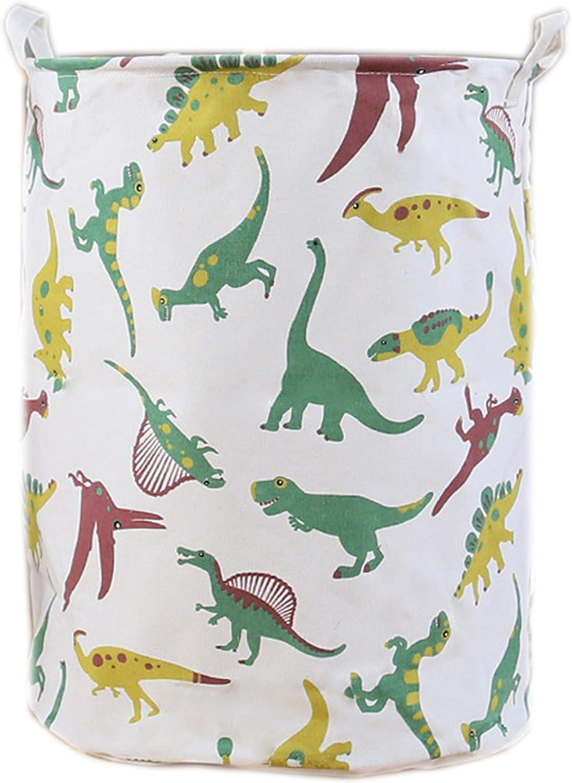 LEELI Laundry Hamper with Handles-Collapsible Canvas Basket for Storage Bin,Kids Room,Home Organizer,Nursery Storage,Baby Hamper,19.7×15.7 (Dinosaurs)