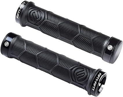 Black//White Q2 One Clamp Lock-On Mountain Bike Grips