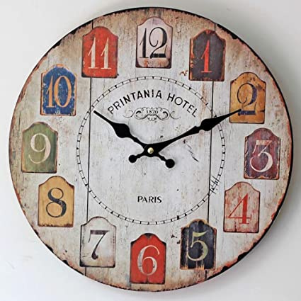 Yunfeng Wall Clock Silent,Living Room Decoration Old Colored Arabic Numerals Frameless Wood Electronic Quartz