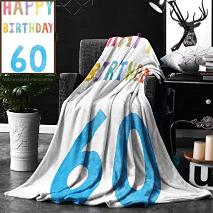 Unique Custom Double Sides Print Flannel Blankets 60Th Birthday Decorations Vintage Party For Elder In