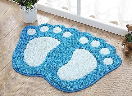 . TOPCHANCES Kids Bath Rug  Anti Slip Water Absorption Cute Foot Print Bath  Mats Shower Carpet Reversible Rubber Doormat Toilet Rug Bathroom