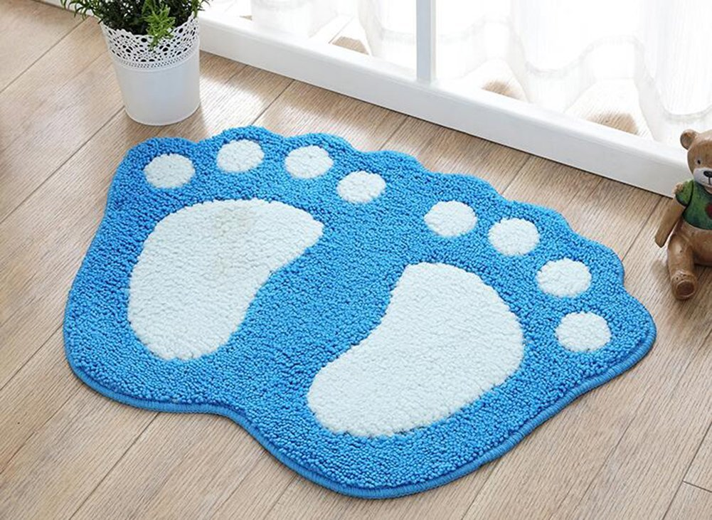 TOPCHANCES Cute Non Slip Foot-shaped Water Absorption Plush Bath Mat Soft Floor Rug Bedroom Bathroom Shower Carpet Natural Reversible Plastic Rug Backed Rubber Doormat (18'' X 23'', Light Blue) by TOPCHANCES