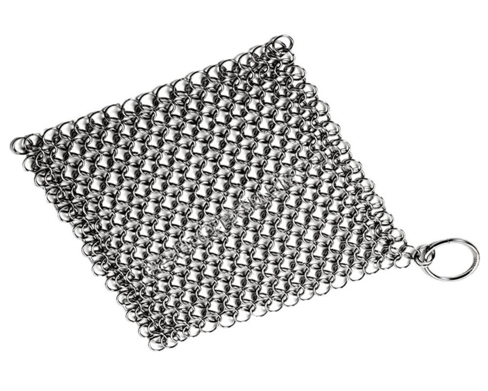 Umiwe Basics Cast Iron Cleaner 7 Inch Stainless Steel Chainmail Scrubber Skillet Cleaner with Ring (Silver)