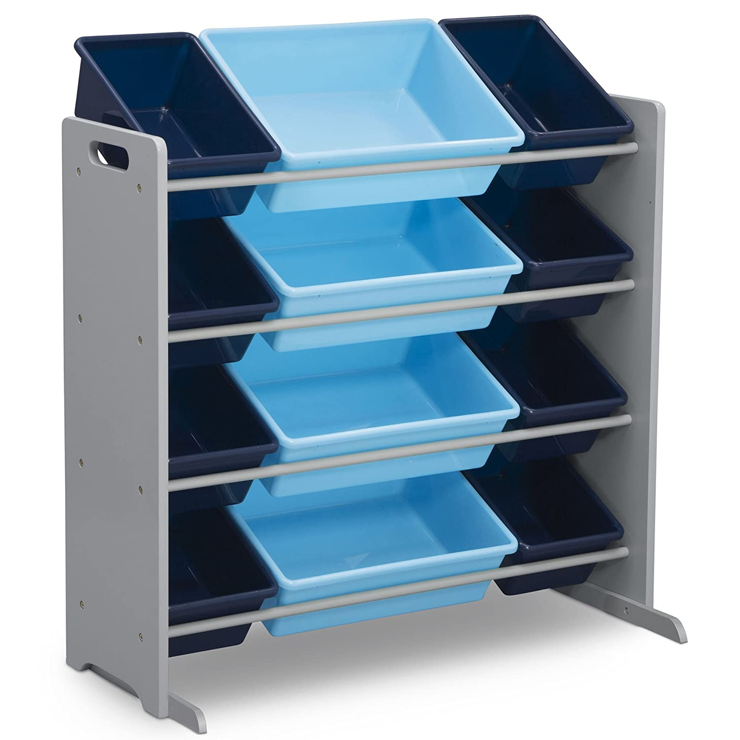 Delta Children Kids Toy Storage Organizer with 12 Plastic Bins, Grey/Blue, Grey/Blue