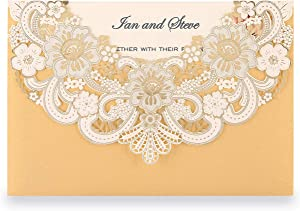 Doris Home 50pcs Gold Laser Cut Flora Lace invitation cards with Blank Inner Sheets and envelopes for wedding invitations, Bridal Shower, Engagement, Birthday, Baby Shower