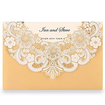 Doris Home Laser Cut Flora Lace Invitation Cards With Envelopes For Wedding InvitationsBridal
